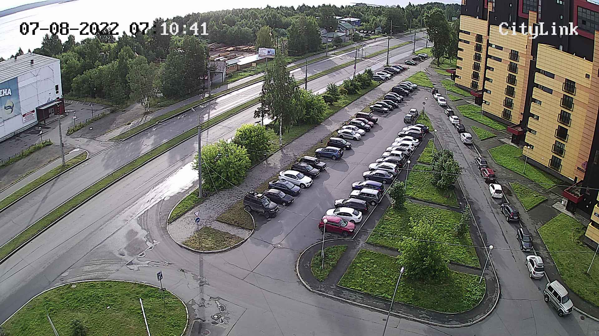 The crosswalk on the waterfront of Varkaus